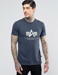 Alpha Industries T Shirt With Logo In Regular Fit Navy Ny1 Navy 1