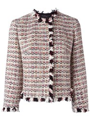 Giambattista Valli Ruffle Trim Tweed Jacket Multicolour