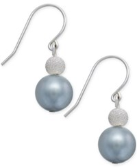 Macy's Freshwater Pearl 9Mm And Silver Bead Hook Earrings In Sterling Silver No Color
