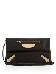 Balenciaga Metal Plate Envelope Leather Clutch Black