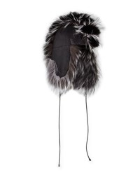 Gigi Burris Myra Leather And Fox Fur Trapper Hat Black