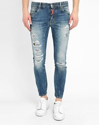 Dsquared Tidy Biker Destroy Patched Washed Jeans