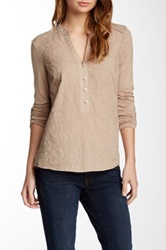 Democracy Long Sleeve Embroidered Shirt Beige