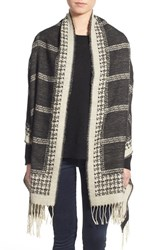 Junior Women's David And Young Houndstooth And Check Blanket Scarf Black