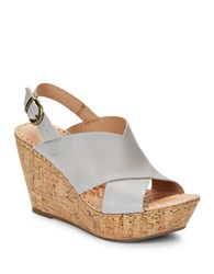 Born Emmy Leather Sandal Wedges Light Grey