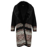 River Island Womens Black Knitted Coatigan With Faux Fur Collar