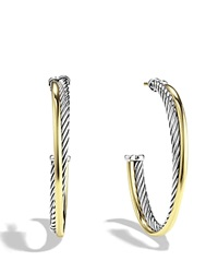 David Yurman Crossover Extra Large Hoop Earrings With Gold Silver Yellow Gold