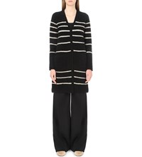 Max Mara Velier Striped Brushed Knit Cardigan Black White