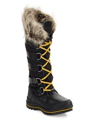 Guess Hadly Faux Fur Trimmed Lace Up Boots Black