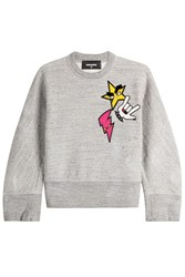 Dsquared2 Cropped Cotton Sweatshirt Grey