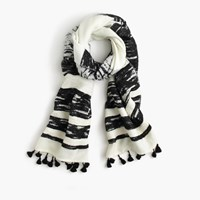 J.Crew Textured Striped Scarf Ivory Black