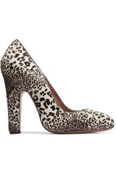 Alaia Leopard Print Calf Hair Pumps White