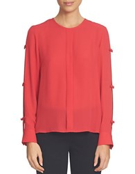 Cece Solid Slit Sleeve Blouse Red