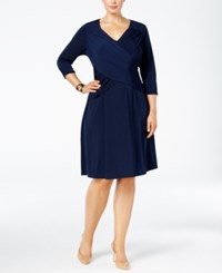 Ny Collection Plus Size Crossover A Line Dress Navy