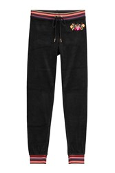 Juicy Couture Embroidered Velour Pants Black