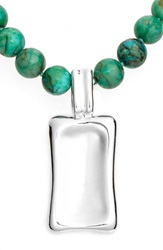 Simon Sebbag Beaded Pendant Necklace Silver Green Turquoise
