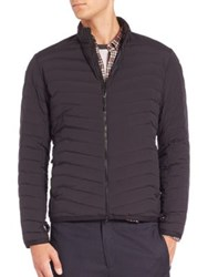 Theory Signature Quilted Puffer Jacket Navy Black