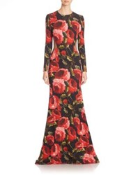Naeem Khan Floral Open Back Gown Black Red