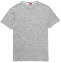 Isaia Space Dyed Knitted Linen And Cotton Blend T Shirt Gray