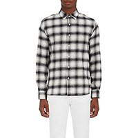 Barneys New York Men's Plaid Brushed Cotton Flannel Shirt White