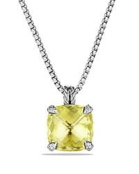 David Yurman Chatelaine Pendant Necklace With Lemon Citrine And Diamonds Yellow Silver