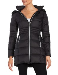 French Connection Faux Fur Trimmed Hooded Puffer Coat Black