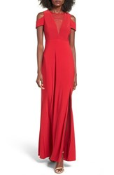 Morgan And Co. Women's Illusion Mesh Gown Red