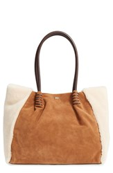 Uggr Ugg Heritage Leather And Genuine Shearling Tote