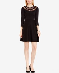Vince Camuto Lace Inset Fit And Flare Sweater Dress Rich Black