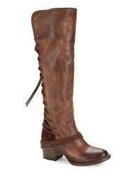 Freebird Coal Leather And Suede Knee High Boots Dark Brown