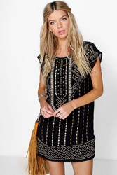 Boohoo Ruth Embroidered Beaded Shift Dress Black