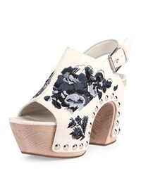 Alexander Mcqueen Embroidered Leather Platform Clog Sandal Black White Size 9