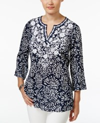 Charter Club Floral Print Embroidered Tunic Only At Macy's Intrepid Blue