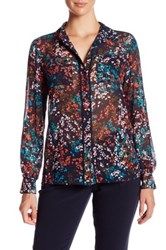 Ellen Tracy Piped Button Front Sheer Floral Pocket Blouse Blue