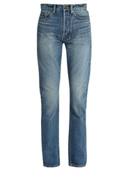 Saint Laurent 90S High Rise Straight Leg Jeans Light Blue