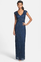 Women's Sue Wong Embellished Illusion Back Gown Navy