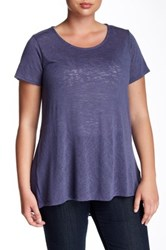 Gibson Knit And Woven Short Sleeve Blouse Plus Size Purple