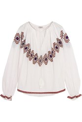 Talitha Isha Embroidered Cotton Top White