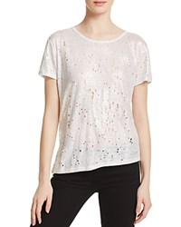 Generation Love Brandy Holes Foil Linen Tee White Silver