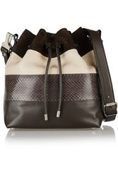 Proenza Schouler Bucket Paneled Leather And Ayers Shoulder Bag Charcoal