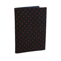 40 Colori Black Orange Dotted Silk And Leather Credit Card Wallet Black Yellow Orange