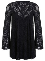Miss Selfridge Black Lace Up Tunic