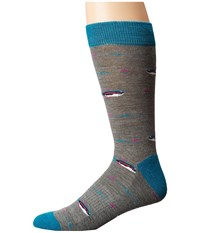 Richer Poorer Angler Hiking Light Sock Grey Teal Men's Crew Cut Socks Shoes Gray