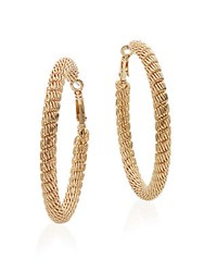 Saks Fifth Avenue Mesh Hoop Earrings Goldtone
