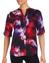 Calvin Klein Long Sleeve Floral Button Down Shirt Purple Multi