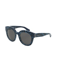 Dandg D And G Rounded Leopard Print Sunglasses Blue