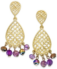 Style And Co. Gold Tone Purple Bead Double Teardrop Earrings Amethyst