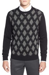 Toscano Argyle Crewneck Sweater Black