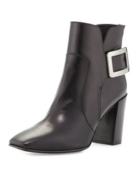 Roger Vivier Polly Chunky Heel Side Buckle Ankle Boot Black