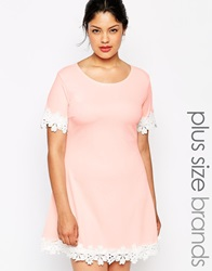 Praslin Short Sleeve Shift Dress With Crochet Trim Peach